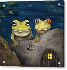 Frogland Detail Acrylic Print by Leah Saulnier The Painting Maniac