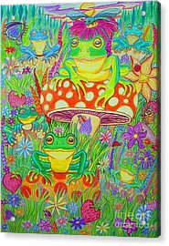 Frogs And Mushrooms Acrylic Print by Nick Gustafson