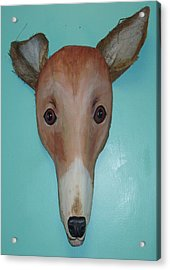 Frondly Greyhound Acrylic Print by Ellen Burns