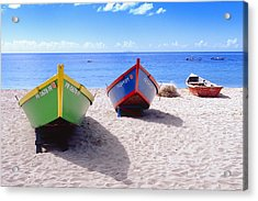 Frontal View Of Fishing Boats On Crash Boat Beach Puerto Rico Acrylic Print by George Oze