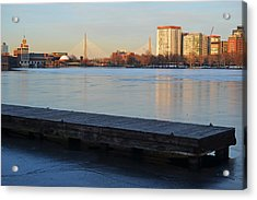 Frozen Dock On The Charles River Acrylic Print by Toby McGuire