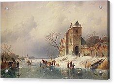 Frozen Winter Scene Acrylic Print by Charles-Henri-Joseph Leickert