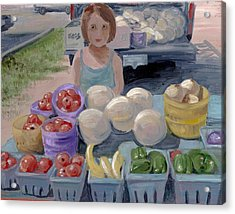 Fruit Stand Girl Acrylic Print by Cathy France