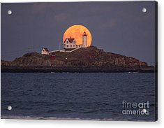Full Moon Behind Nubble Acrylic Print by Benjamin Williamson
