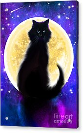 Full Moon Black Cat Acrylic Print by Nick Gustafson