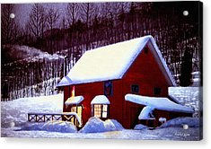 Snow Scenes In Watercolors Acrylic Print featuring the painting Full Moon In Vermont by Frank Wilson