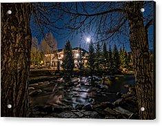 Full Moon Over Breckenridge Acrylic Print by Michael J Bauer