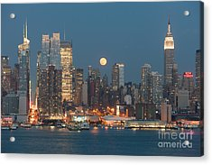 Full Moon Rising Over New York City I Acrylic Print by Clarence Holmes