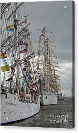 Full Rigged Ships Acrylic Print by Patricia Hofmeester
