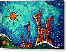 Funky Town Original Madart Painting Acrylic Print by Megan Duncanson