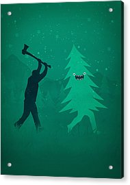 Funny Cartoon Christmas Tree Is Chased By Lumberjack Run Forrest Run Acrylic Print by Philipp Rietz