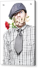 Funny Man Saying Sorry With Love And A Red Rose Acrylic Print by Jorgo Photography - Wall Art Gallery