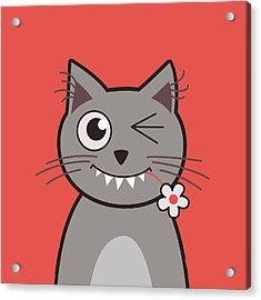 Funny Winking Cartoon Kitty Cat Acrylic Print by Boriana Giormova