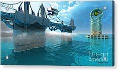 Futuristic Skyway Acrylic Print by Corey Ford