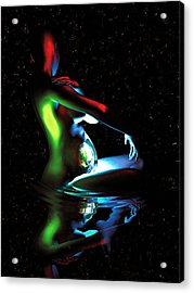 Gaia Bathing In A Pool Of Stars Acrylic Print by Pet Serrano
