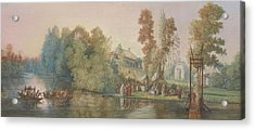 Gallant Scene  Picnic At A Lake, Acrylic Print by Jean Pierre Norblin