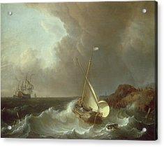 Galleon In Stormy Seas   Acrylic Print by Jan Claes Rietschoof