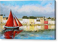 Galway Hooker Leaving Port Acrylic Print by Conor McGuire