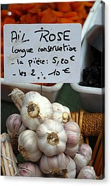 Garlic And Dried Apricots For Sale Acrylic Print by Anne Keiser
