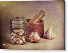 Garlic In A Jar Acrylic Print by Tom Mc Nemar