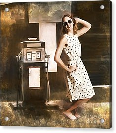Gas And Oil Painting Pinup  Acrylic Print by Jorgo Photography - Wall Art Gallery