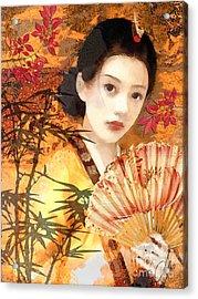 Geisha With Fan Acrylic Print by Mo T