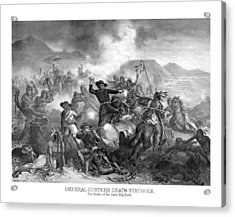 General Custer's Death Struggle  Acrylic Print by War Is Hell Store