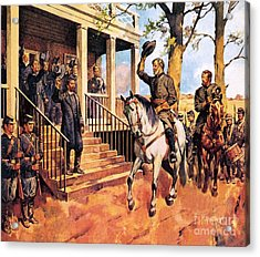 General Lee And His Horse 'traveller' Surrenders To General Grant By Mcconnell Acrylic Print by James Edwin