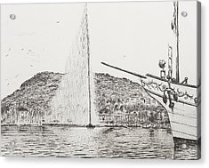 Geneva  Fountain And Bow Of Pleasure Boat Acrylic Print by Vincent Alexander Booth