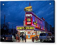 Geno's Steaks South Philly Acrylic Print by John Greim