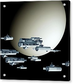 Geometry Spaceships Acrylic Print by GuoJun Pan