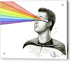 Geordi Sees The Rainbow Acrylic Print by Olga Shvartsur