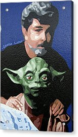 George Lucas With Yoda Acrylic Print by Roberto Valdes Sanchez