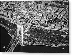 George Washington Bridge Upper Manhattan Bw Acrylic Print by Susan Candelario