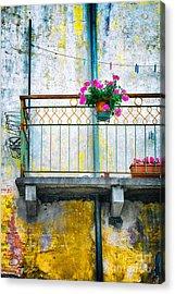 Geraniums On Old Balcony    Acrylic Print by Silvia Ganora