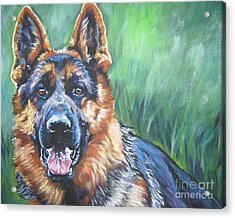 German Shepherd Acrylic Print by Lee Ann Shepard