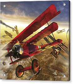 German Triple Wing Bi-plane The Red Acrylic Print by Kurt Miller