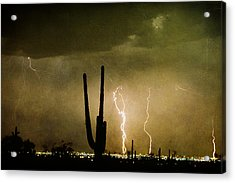 Giant Saguaro Southwest Lightning  Peace Out  Acrylic Print by James BO  Insogna