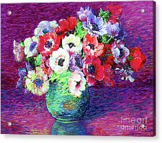 Gift Of Flowers, Red, Blue And White Anemone Poppies Acrylic Print by Jane Small