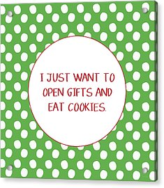 Gifts And Cookies- Art By Linda Woods Acrylic Print by Linda Woods