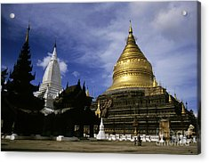 Gilded Stupa Of The Shwezigon Pagoda Acrylic Print by Sami Sarkis