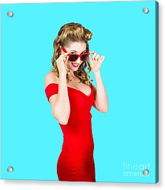 Girl Adjusting Glasses To Flashback A 1950s Look Acrylic Print by Jorgo Photography - Wall Art Gallery