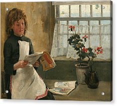 Girl In A Cottage Window Acrylic Print by Norman Garstin
