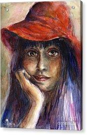 Girl In A Red Hat Portrait Acrylic Print by Svetlana Novikova