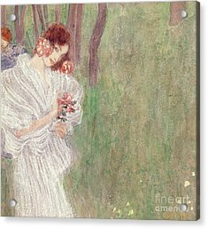 Girl In A White Dress Standing In A Forest  Acrylic Print by Gustav Klimt