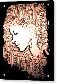 Girl In City Acrylic Print by Gabe Art Inc