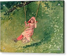 Girl On A Swing Acrylic Print by Winslow Homer