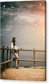 Girl On Fence Acrylic Print by Carlos Caetano