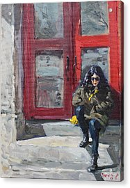 Girl Sitting At Red Doorstep Acrylic Print by Ylli Haruni