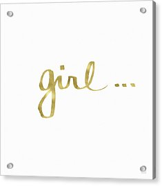Girl Talk Gold- Art By Linda Woods Acrylic Print by Linda Woods